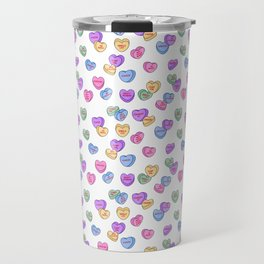 Feminist Valentine Candy Hearts in White, No Wifey Travel Mug