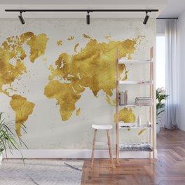 24 Karat World, faux gold world map Wall Mural
