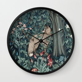 William Morris Forest Fox Tapestry Wall Clock