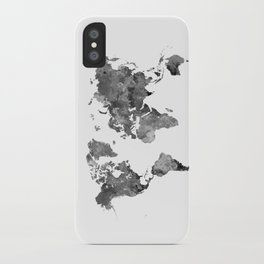 World map in watercolor gray iPhone Case