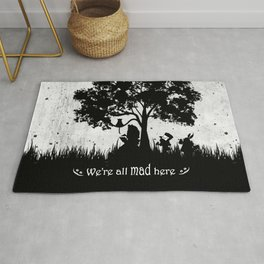 We're All Mad Here Alice In Wonderland Silhouette Art Rug