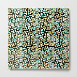 grid in brown and green with shapes Metal Print