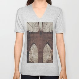Moody Brooklyn Bridge Unisex V-Neck