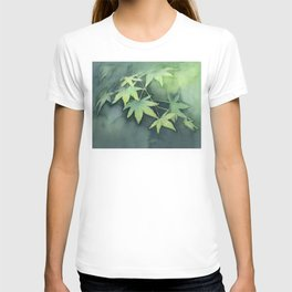 Japanese Maple Watercolor Green Leaves T-shirt