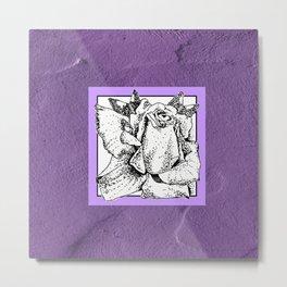 Pointillism Rose in Pen and Ink Metal Print