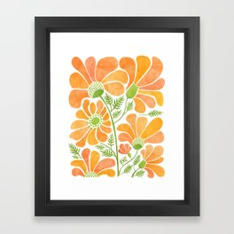 Happy California Poppies / hand drawn flowers Framed Art Print