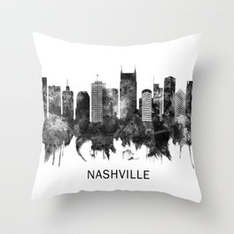Nashville Tennessee Skyline BW Throw Pillow