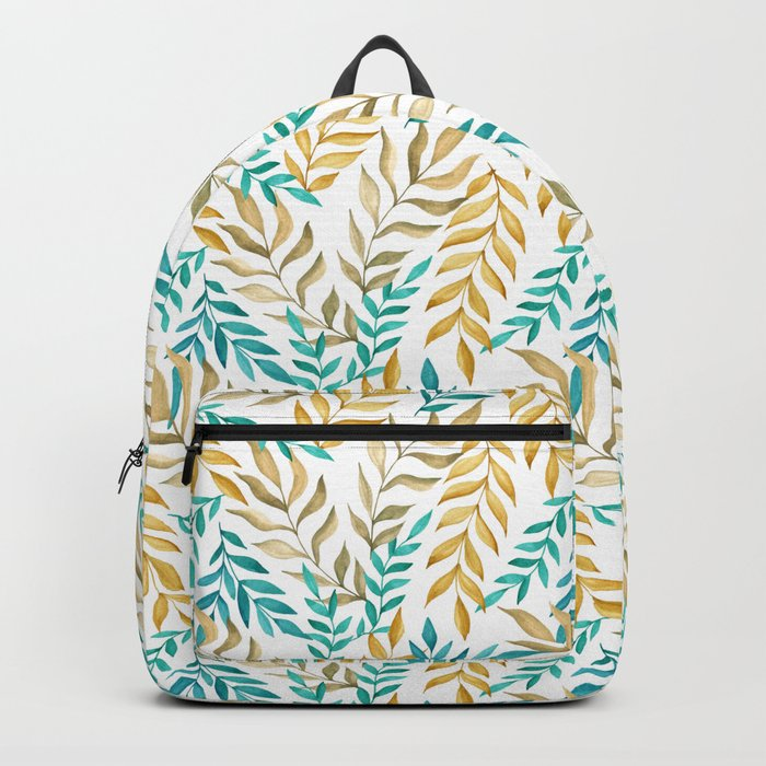 Tropical leaves (yellow and blue). Watercolor Backpack