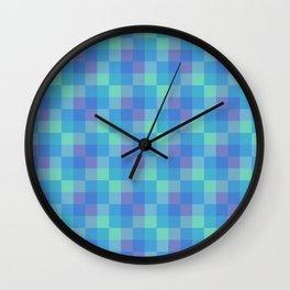 Blue and Purple Small Squares Geometric Layered Digital Pattern Wall Clock