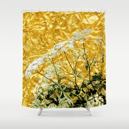 GOLDEN LACE FLOWERS FROM SOCIETY6 BY SHARLESART. Shower Curtain