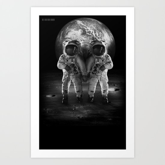 Holding Hands On The Moon Art Print