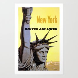 Vintage Travel Poster - New York Art Print