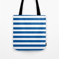 preppy Tote Bags featuring Preppy Navy & White Stripe by Sweet Karalina
