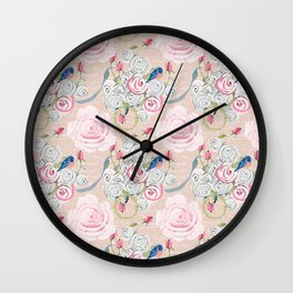 Watercolor Roses and Blush French Script Wall Clock