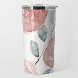 Antique Roses, Peach, Pink, Blush Watercolor Flowers Travel Mug