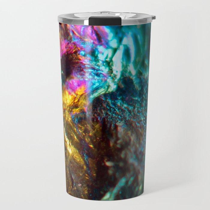 Rainbow Oil Slick Crystal Rock Travel Mug