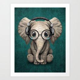 Cute Baby Elephant Dj Wearing Headphones and Glasses on Blue Art Print