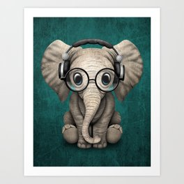 Cute Baby Elephant Dj Wearing Headphones and Glasses on Blue Art Print