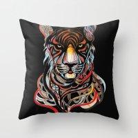 tiger Throw Pillows featuring Tiger by Felicia Atanasiu