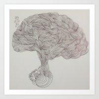 brain waves Art Prints featuring Brain Waves by DoodlePark