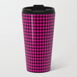 Mini Black and Hot Pink Cowgirl Buffalo Check Travel Mug
