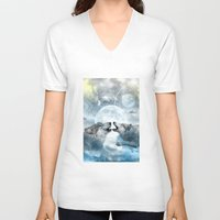 wolves V-neck T-shirts featuring Wolves by haroulita