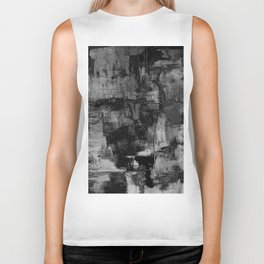 Crackled Gray - Black, white and gray, grey textured abstract Biker Tank