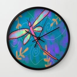 Funky Dragonfly Abstract Digital Painting Wall Clock