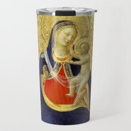 """Fra Angelico """"Madonna and Child Enthroned with Nine Angels and Saints Dominic and Catherine"""" Travel Mug"""