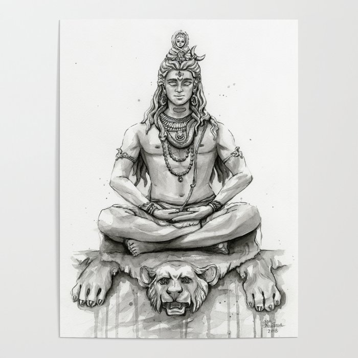 Lord Shiva Painting, Shiva Art, Meditation Shiva Portrait Poster by olechka