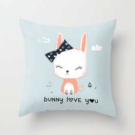 RABBIT BUNNY CARTOON Throw Pillow