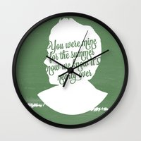 niall horan Wall Clocks featuring Niall Horan Silhouette  by Holly Ent