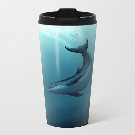 """Siren of the Blue Lagoon"" by Amber Marine ~ Dolphin Art, Digital Painting, (c) 2015 Metal Travel Mug"