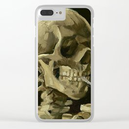 Skeleton with Burning Cigarette Clear iPhone Case