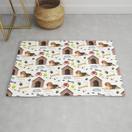 Beagle Half Drop Repeat Pattern Rug