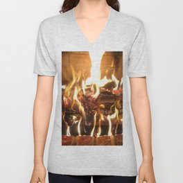 Keeping Warm by the Fire Unisex V-Neck