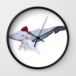 Whale in a Beanie Wall Clock