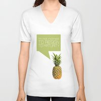psych V-neck T-shirts featuring psych tv show... im not inclined to resign to maturity by studiomarshallarts