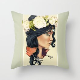 Bohemian Girl Throw Pillow