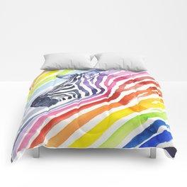 Zebra Rainbow Stripes Colorful Whimsical Animal Comforters