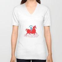 napoleon V-neck T-shirts featuring Little Napoleon by Hadar Geva