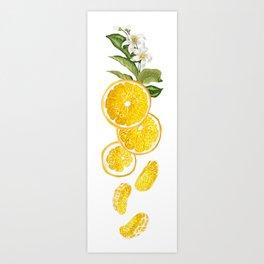 Patel background with orange fruits pattern Art Print