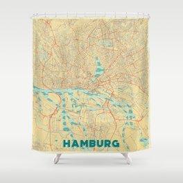 Hamburg Map Retro Shower Curtain