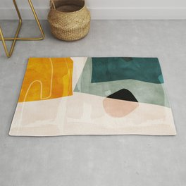 mid century shapes abstract painting 3 Rug