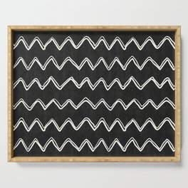 Moroccan Horizontal Stripe in Black and White Serving Tray