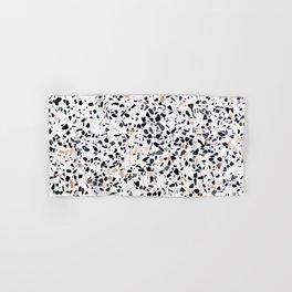 Terrazzo Stone Pattern Black and Orange Peach Hand & Bath Towel