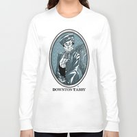 downton abbey Long Sleeve T-shirts featuring Downton Tabby by Gimetzco's Damaged Goods