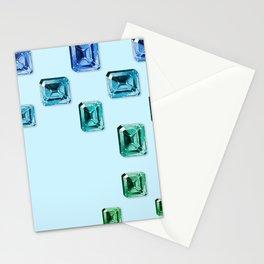 Emerald-cut Gemstones Pattern | Seafoam Stationery Cards