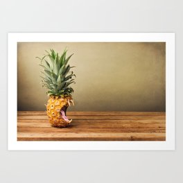 Pineapple is hungry Art Print