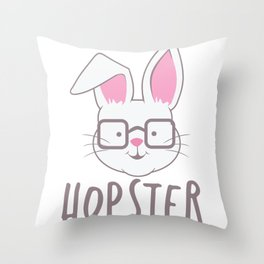 Cute Easter Bunny Hopster Rabbit print Throw Pillow